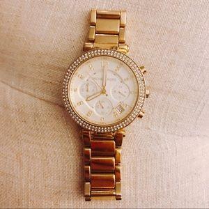 🖤✨ Classy Michael Kors Watch • Gold + Rhinestones
